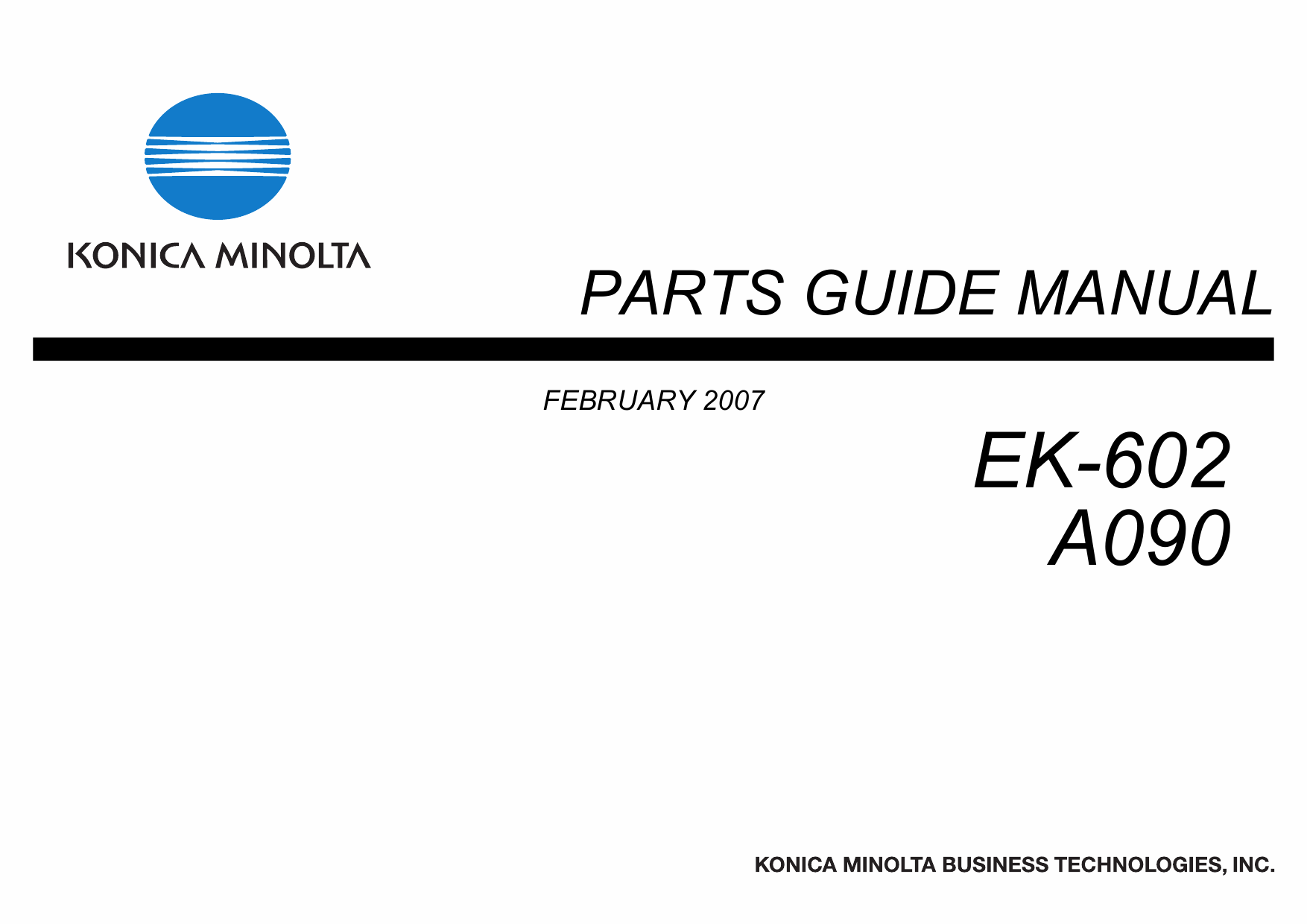 Konica-Minolta Options EK-602 A090 Parts Manual-1